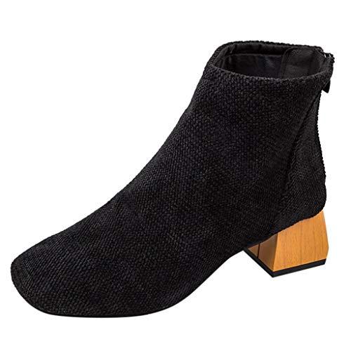 Supertong Damen Stiefeletten Vintage Stricken Atmungsaktiv Freizeitstiefel mit 3-5cm Absatz Frühling Herbst Kurze Stiefel Ankle Boots
