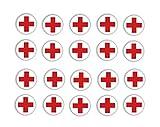 Generisch Pegatinas de cruz roja, 20 unidades, con símbolo de cruz roja, calcomanía (RW 28/13) (2 x 2 cm)