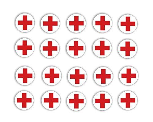 Generisch Rot Kreuz Aufkleber 20 Stück Rot Kreuz Symbol Aufkleber, Abziehbild (RW 28/13) (2 x 2 cm)