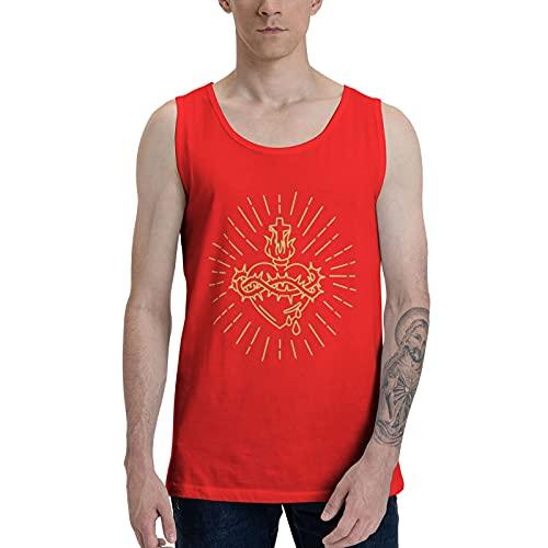 IJARL Camiseta sin mangas con diseño de corazón sagrado de Jesús para hombre, transpirable, cómoda, color negro - rojo - X-Large