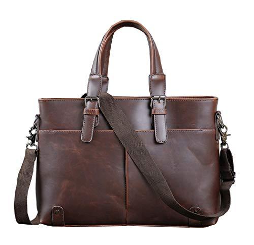 Berchirly Men's Retro Leather Laptop Briefcase Business Satchel Computer Handbag Shoulder Man Bag
