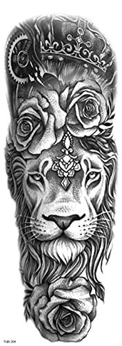 Reloj León Tigre Mapa Brazo Completo 17X48cm-3Pcs Tatuaje Para Realista A Prueba De Agua Con Pequeños Tatuajes Temporales Negros Falso Cuerpo Brazo Pecho Hombro Tatuajes Para Hombres Brazo Mujeres