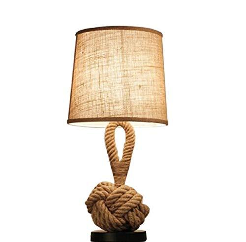 Lamp Tafels Retro Henneptouw Tafellamp, Creatieve Slaapkamer Bedlampje Amerikaanse Stijl Bureaulamp Industriële Lampen Bar Cafe Decoratieve Verlichting, E27, Drukknop, 60 * 28Cm