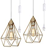 Plug-in Hanging lamp Set of 2 , YILYNN Pyramid Ceiling Pendant Light Kitchen Island Lamp with 14.7FT Switch Plug Clear Wire Gold Geometric Small Swag Hanging Light
