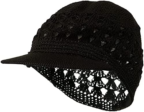 Visor Brim Knit Kufi Hat - Koopy Cap - Crochet Beanie with Brim