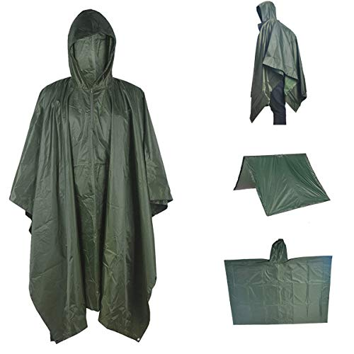 A-MORE Waterproof Raincoat Rain Poncho Lightweight Ripstop Hooded Picnic MatRain Fly Backpack Cover (Green), Large