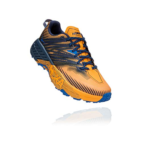 HOKA ONE ONE Speedgoat 4 Trail Runner para hombre, amarillo (Azafrán/Iris Negro), 45 EU