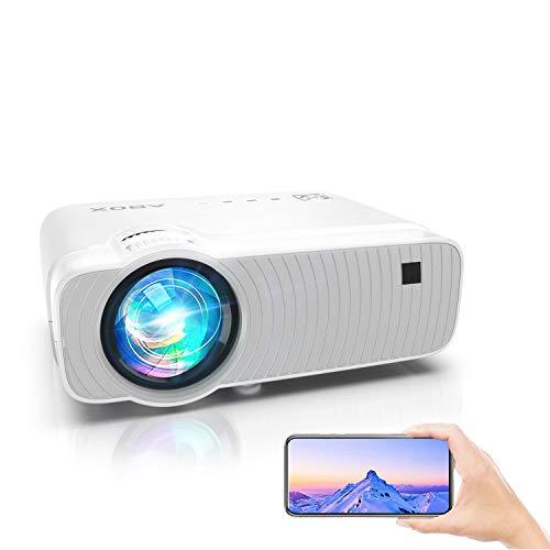 WiFi Beamer, Mini Beamer 6000 Helligkeit Wireless Heimkino Beamer für Draußen1080P Full HD ABOX Projektor kompatibel mit iOS, Android, TV Stick, PS4, X-Box, AV,HDMI, SD