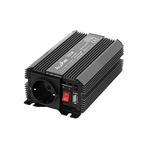ALCAPOWER IRS300-24 Voltage Inverter by President 300W 24V Supply, 230V Output, Modified sine Wave, 5V 500mAh USB, with Power Pliers And Cigarette Lighter Plug Included, 300 W, 24 V, Nero