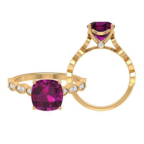Rosec Jewels 14 quilates oro amarillo cojín Round Brilliant Moissanite rodolita