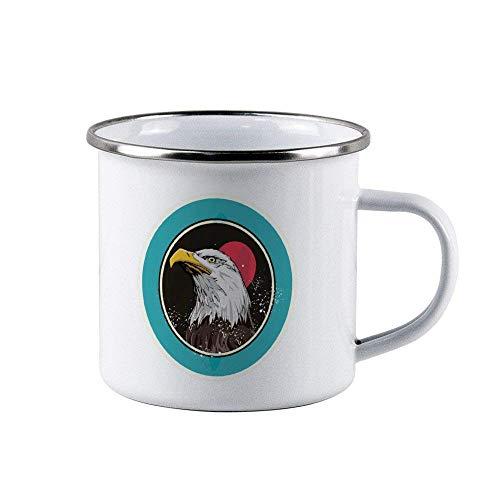 N\A Taza de café esmaltada Bird Eagle Icon - Taza de Viaje Duradera y Personalizada de 10 oz para el Esposo, papá, Abuelo, Abuela