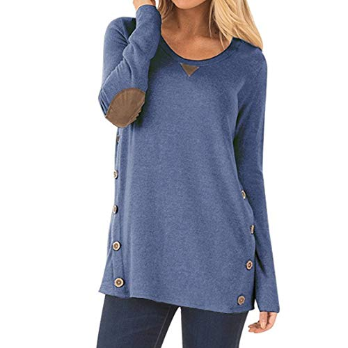 Women Blouse Long Sleeve Fashion Loose Comfy T Shirt Women Casual Solid Color Round Neck T Shirts Tunic Leisure All-Match Blouse Loose Sweatshirt Tops XXL