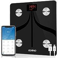 RENPHO Báscula de Grasa Corporal Inteligente Bluetooth Recargable por USB Báscula para Baño Digital con Aplicación Inalámbrica Monitor de Composición Corporal para Peso Corporal