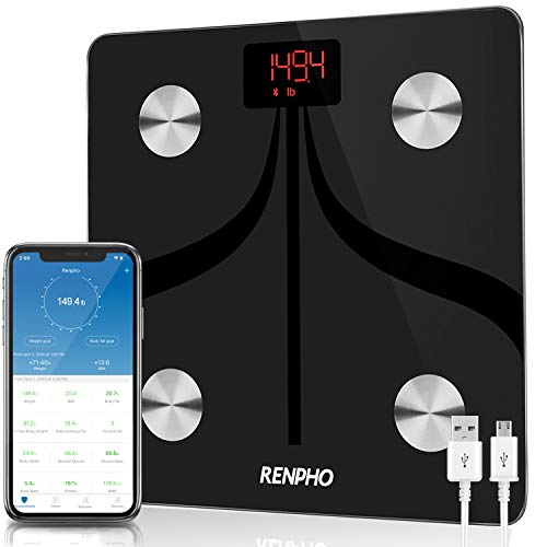 RENPHO Smart Body Fat Scales USB Rechargeable, Bluetooth Bathroom Scales High Precision Weighing Scale with Smartphone App, Body Composition Monitor for Body Fat, BMI, Body Weight, Muscle Mass