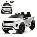 Kids Ride On Cars with Remote Control, 12V Licensed Range Rover Electric Vehicle with Bluetooth, MP3, Radio, LED Lights, Openable Doors, Four Wheels Spring Suspension, White