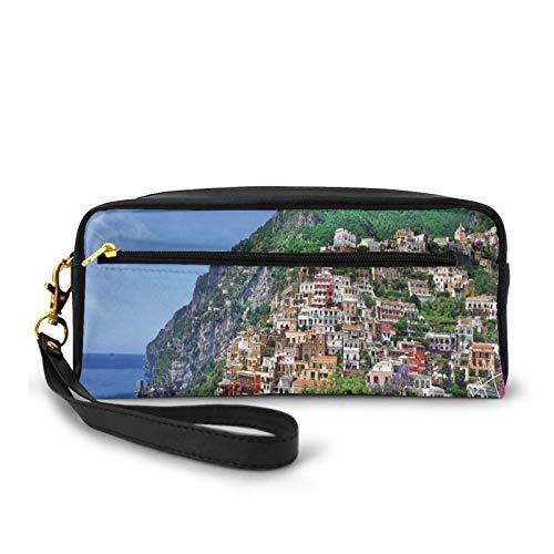 Estuche pequeño de piel sintética, vista panorámica de Positano Amalfi Nápoles floreciendo flores costeras pueblo, bolsa de maquillaje bolsa