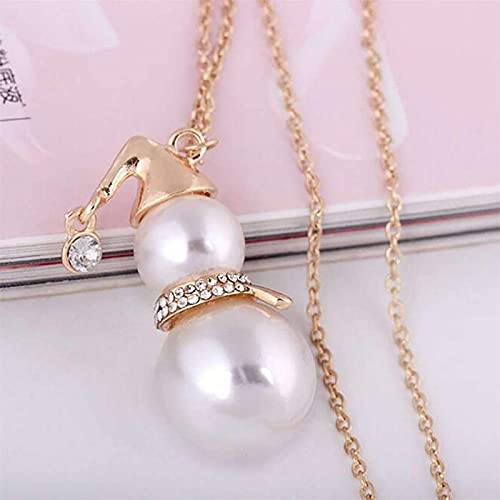 ZDDO Crystal Snowman Necklace - Fashion Gourd Necklace For Girls Daughter Teens, Tiny Small Cute Dainty Jewelry Gift Oro