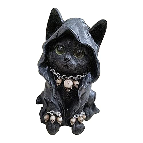 GDEVNSL Katzenstatue, Totenkopf-Halskette, umhüllt, Katzenfigur, Garten, schwarz, Tier, Kunstharz, Ornamente, Skulptur für Halloween, Zuhause