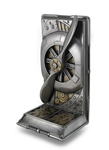 8 in tall, 4 .25 in wide, 3 .75 in deep Crafted From Cast Resin Metallic Bronze and Steel Finish Hand Painted Accents Single (1) Bookend