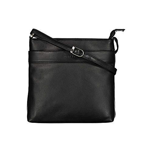 ESTELLE Leder Damentasche Umhängetasche Ledertasche 19 x 20 x 05 cm (Schwarz)