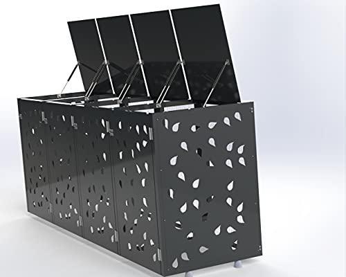 Ihre Mülleimer Werden zur Deko, Mülltonnenbox, Mülltonnenboxen, Mülltonnenbox 4 tonnen, Mülltonnenbox Metall, Mülltonnenbox 4er 240l (Grau)