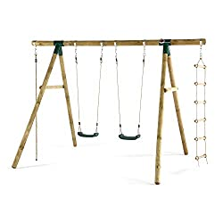 Wooden framed swing and climb set Includes 2 swings, soft feel climbing rope and cargo rope ladder Made from premium FSC approved timber Heavy duty blow moulded seats for extra strength Recommended age 3 to 12 years