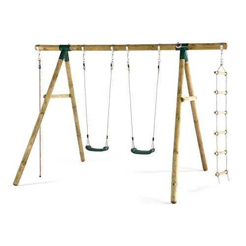 Plum Gibbon Wooden Garden Double Swing, Climbing Rope & Ladder Set