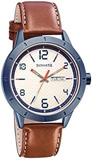 سوناتا ، مقاومة للماء، ميناء أبيض مع تقويم، ساعة رجالي