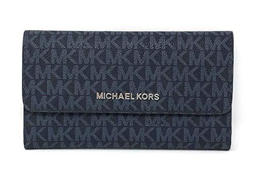 Michael Kors Jet Set Travel Large Trifold Leather Wallet (Admiral Silver Hardware)