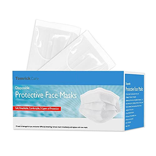 TomrickCare White Disposable Face Mask 50 PCS,3 Ply