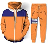 Naruto Uzumaki Hoodie Jogger Pants Anime Halloween Cosplay Costume Orange XS