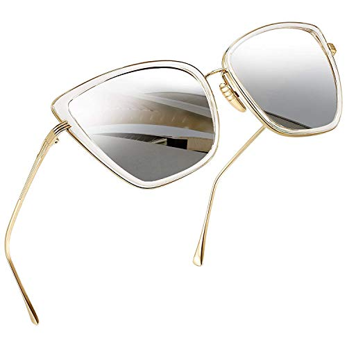Joopin Oversized Cateye Sunglasses for Women, Fashion Metal Frame Cat Eye Womens Sunglasses (Silver)