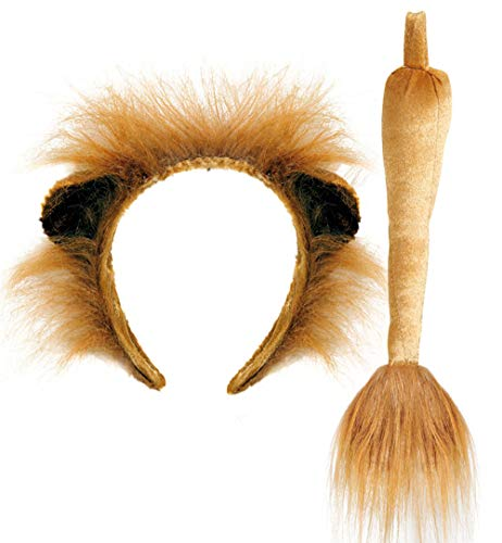 KarnevalsTeufel Löwen-Set, 2-TLG. Haarreif mit Ohren und Schwanz, Tierkostüm, Animal, Karneval, Fasching, Mottoparty