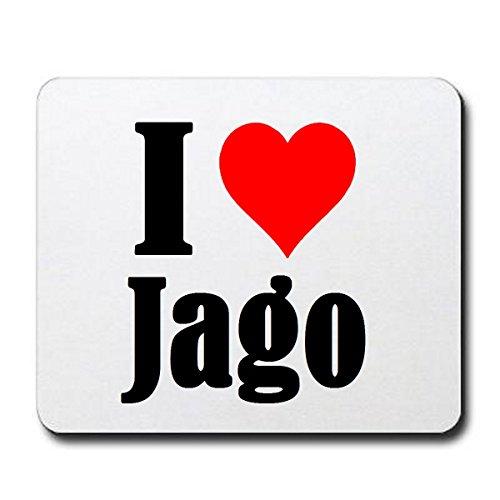 EXCLUSIVO: Tapete de ratón 'I Love Jago' en Blanco, una gran idea para un regalo para sus socios, colegas y muchos más!- regalo de Pascua, Pascua, ratón, Palmrest, antideslizante, juegos de jugador, cojín, Windows, Mac OS, Linux, ordenador, portátil, PC, oficina, tableta, Amo, Made in Germany.