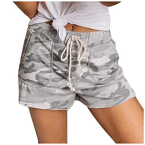 Best Review Of Meikosks Drawstring Short Womens Camouflage Printing Pants Elastic Waist Pocket Short...