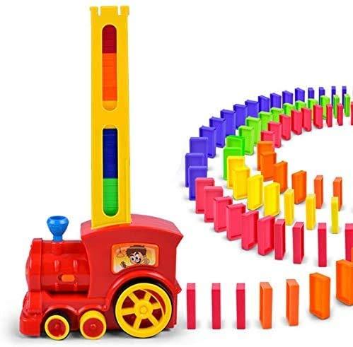 BSOL Domino Zug Spielzeug Set, Domino Rally Elektronische Zug Modell Bunt Spielzeug Set, Mädchen Junge Kinder Geschenk Puzzle Spielzeug (Rot)