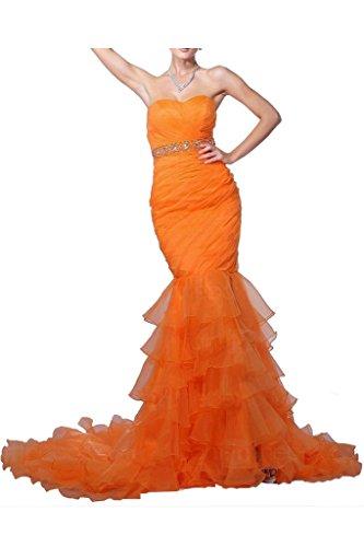 Romantische Braut Sexuell Meerjungfrau-Linie Herz-Ausschnitt Schleppe Organza Abendkleider Promkleider Partykleider mit Stein -44 Orange