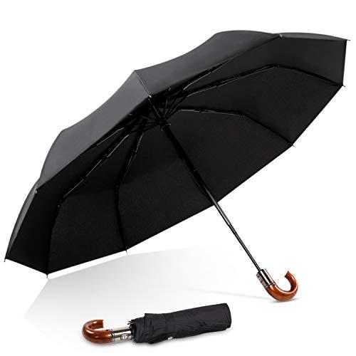 DORRISO Luxus Automatisches Öffnen/Schließen Regenschirm Windsicher Holzimitat Dauerhafte Geschäft Reise Taschenschirm J-Griff Gelb