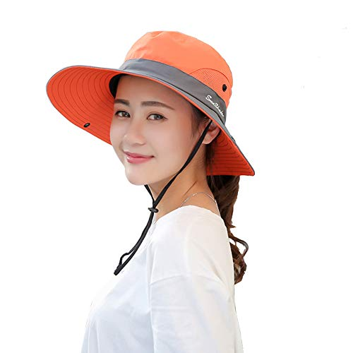 Womens UV Protection Wide Brim Sun Hats - Cooling Mesh Ponytail Hole Cap Foldable Travel Outdoor Fishing Hat Orange