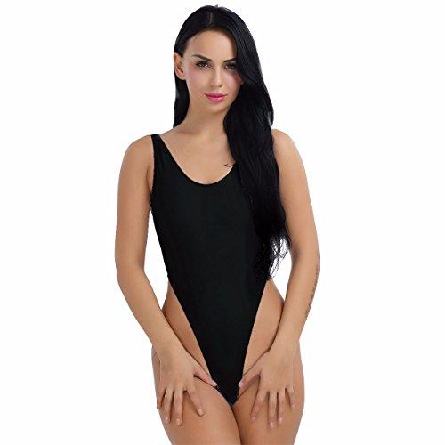 YiZYiF Damen Body Sportbody High Cut Rückenfrei Dessous Bodysuit Thong Leotard Bikini Badeanzug S M L XL 2XL (Schwarz, XX-Large)