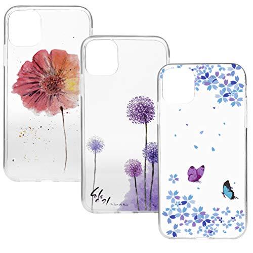 3-pack voor iPhone 11 hoesje, ultradun kristalhelder schokbestendig bedrukt zacht TPU siliconen hoesje met stijlvol schattig patroon beschermende iPhone 11 telefoonhoesje vlinder bloem iPhone 11 3pcs-2
