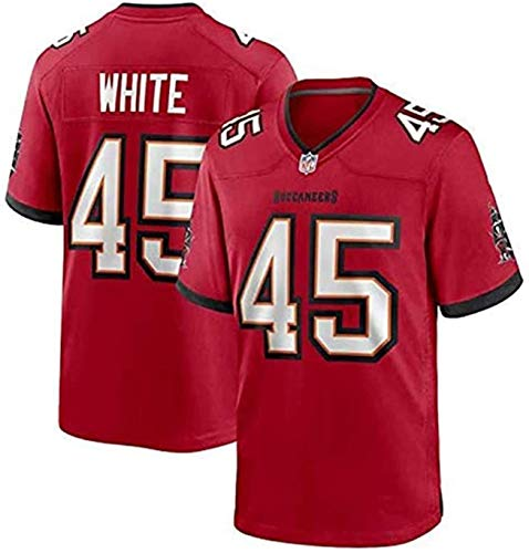 Devin White Jersey, Buccaneers # 45 American Football Hemd, Stickereiversion, Männer, Frauen, Kinder Fan Version T-Shirt 2021 Tribut Limited Jersey (Color : Red, Size : M)
