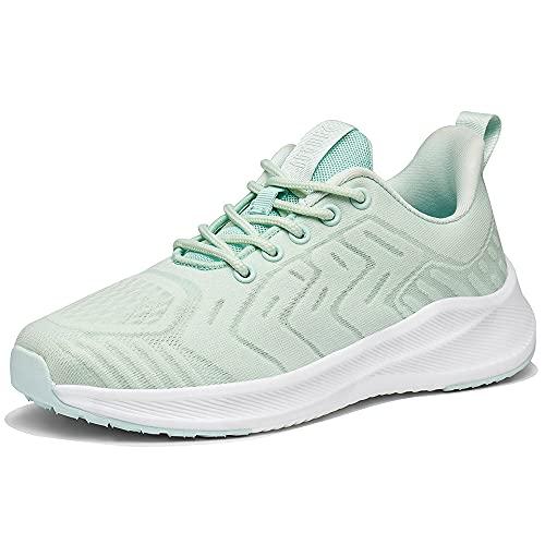 Zapatillas de Running para Mujer Zapatos para Correr Gimnasio Deporte Sneakers Ligero Deportivas Zapatos Casuales de Hombre Deportes Calzado Transpirable Verde 39
