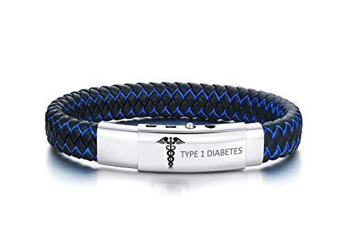 XUANPAI Type 1 Diabetes Handgemachte Geflochtene Armreif Einstellbare Leder Notfall Medical Alert ID Armbänder für Männer
