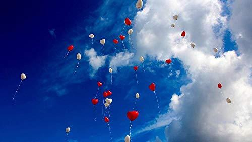 ZFJRKEE 1000 hölzerne Adult Puzzles Herzförmige Luftballons im Himmel Große Größe und Gute Geschenke für Freunde(ZFJ077)