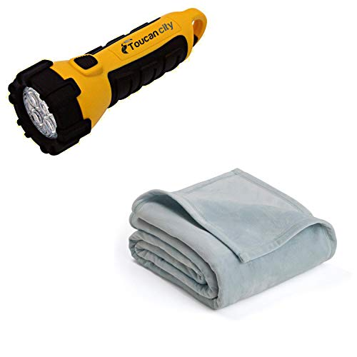 Toucan City LED Flashlight and Vellux P Gray Mist Polyester Full/Queen Blanket 026705447667