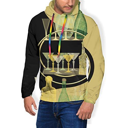 Men\'s Print Fashion Hoodie Art Deco Bar Cart Padded Velvet Hoodie Sweatshirts Pullover