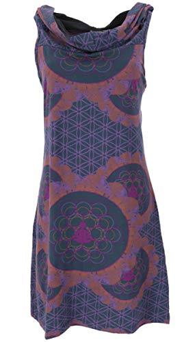 Guru-Shop Kapuzen Mandala Minikleid, Goa Festivalkleid, Damen, Rost/Violet, Baumwolle, Size:M/L (38/40), Kurze Kleider Alternative Bekleidung