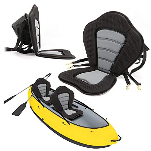 FOLCONROAD Asiento de kayak para tablas de remo SUP, asiento de kayak acolchado grueso con respaldo alto, cojín antideslizante de lujo con correas y ganchos resistentes