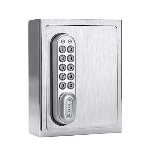 masunt Schlüsselsafe 1140 E Code | Innovative Online-Codevergabe aus der Ferne | elektronischer Schlüsseltresor aus massivem V4A Edelstahl | Aufbruch-sicher | extra korrosionsbeständig für Seeklima